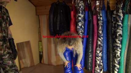 Watching Sophie visiting crazy sensation and trying on a shiny nylon down bib (Video) Part 2 of 3