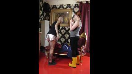 +++new+++ Miss Francine and Lady Nadja in AGU rainwear handcuff and ballgag each other