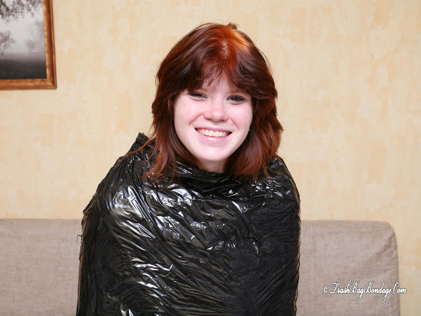 Girl in cling film wrap 10