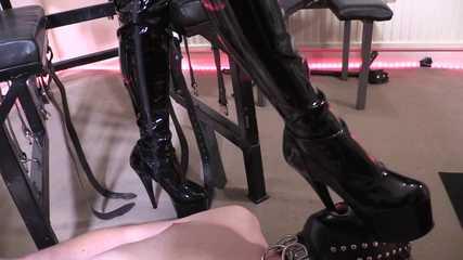Lady Bellatrix's PVC Thigh Boot Worship - Dirty Boot Soles (HD mp4)