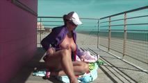Enjoying sun on the baywatch tower 8