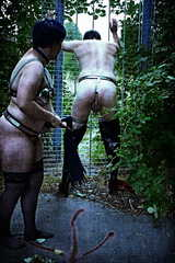 Slave in the full chastity belt and slave in the bra with KG - Impressions 500 Photos
