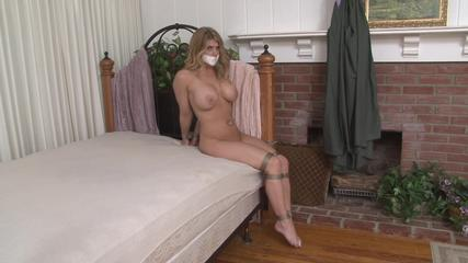 Busty Carissa Montgomery Naked and Barefoot in Seated Strappado