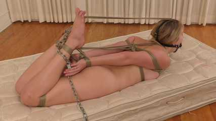Hogtied from Head to Toe! Vika is LeatherGagged and Roped
