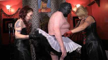 Mistress Erika and Julia's Stocking Slave - Feminisation (HD wmv)