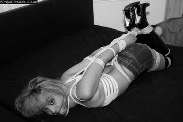 Fifi in elbows together hogtie