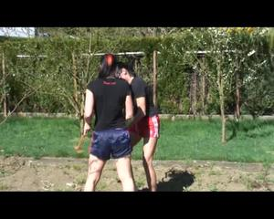 Jill and a friend of her during gardening wearing shiny nylon shorts and tops (Video)