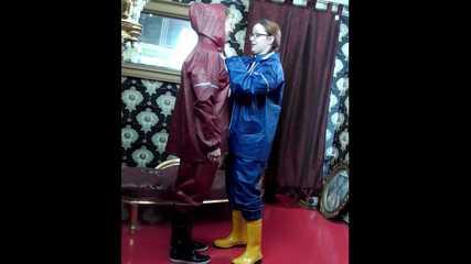 +++new+++ Lady Nadja and Miss Scarlett in  AGU rainwear trying bondage and a new harness gag (Video)