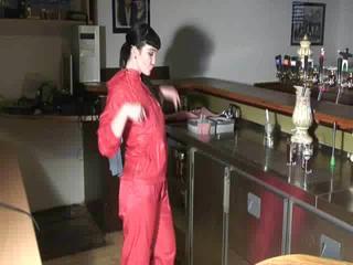 Jill Diamond wearing supersexy red rainwear in her bar playing with herself (Video)