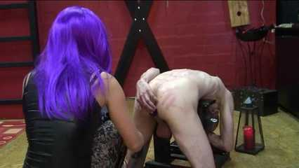 Anal slave fucked with dildo