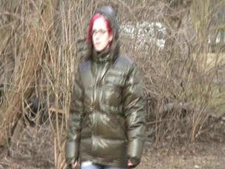 Marlin during a walk wearing shiny nylon down jacket (Video)