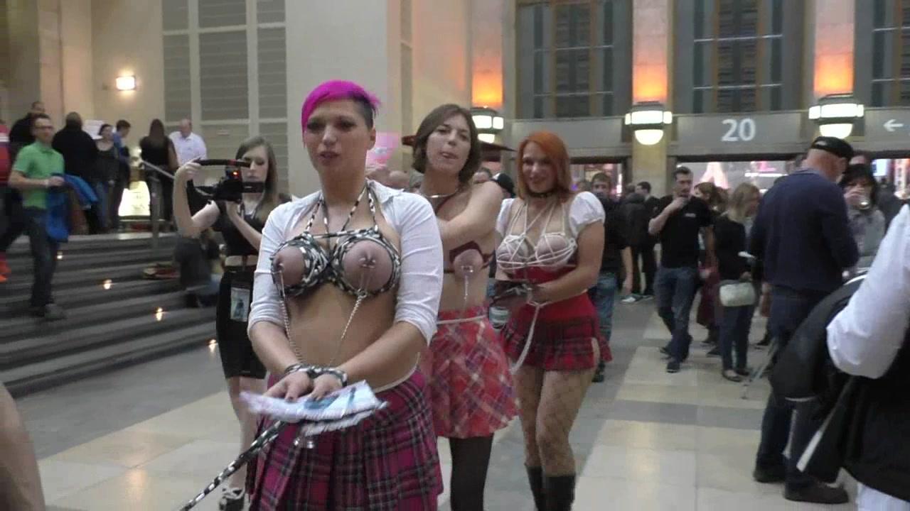 clipspool.com | Breasts Bound Public Bondage Walk at Venus