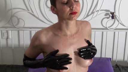 black latex gloves masturbation