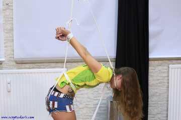 Sophia tied up in a strappado