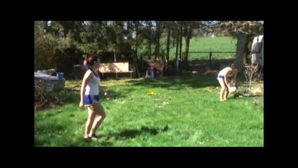 Jill and a friend of her playing soccer wearing sexy shiny ynlon shorts and a top (Video)