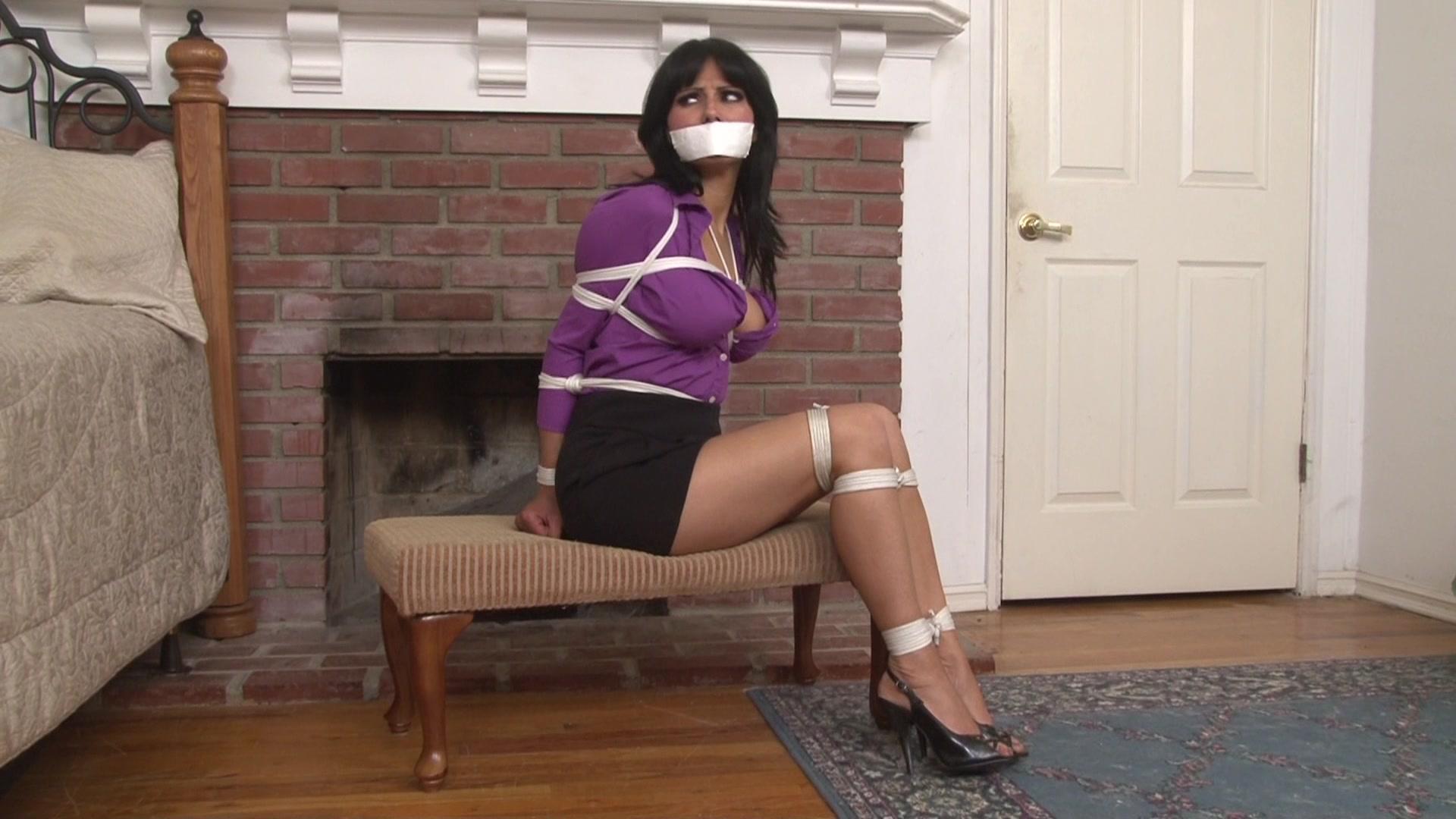 Lesbian domination, latex secretary rope bondage