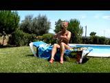 Nude sunbath by the pool 6