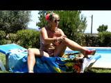Nude sunbath by the pool 7