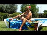 Nude sunbath by the pool 8