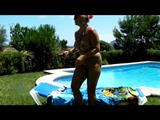 Nude sunbath by the pool 9
