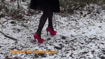 Red high heels in the snow 7