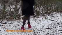 Red high heels in the snow 8