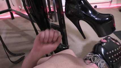 Lady Bellatrix's PVC Thigh Boot Worship (Full) HD mp4