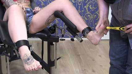 Tickle torture on the feet for slave Maja
