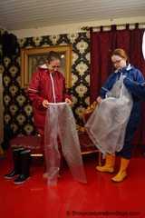 Lady Nadja and Miss Scarlett in  AGU rainwear covered with transparent raingear